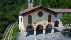 Nembro, Aerial shot of the Shrine named Madonna dello Zuccarello stock footage
