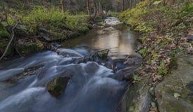 Nemilka creek near Zabreh town in autumn evening. In Ruzove valley stock photography