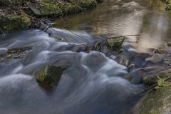 Nemilka creek near Zabreh town in autumn evening. In Ruzove valley royalty free stock photography