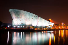 Nemo Museum på natten i Amsterdam Arkivfoto