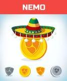 Nemo w meksykańskim kapeluszu nemo Cyfrowej waluta Crypto waluta Pieniądze i finanse symbol Górnika kawałka monety criptocurrency zdjęcie royalty free