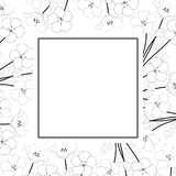 Nemophila Baby Blue Eyes Flower Banner Card Outline. Vector Illustration.  vector illustration