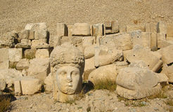 Nemrut Dagı Milli Parki, Mount Nemrut with ancient statues heads og the king anf Gods. NemrutorNemrud Turkish:Nemrut Dag high mountain in stock photos