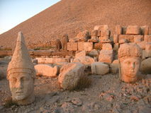 Nemrut Dagı Milli Parki, Mount Nemrut with ancient statues heads og the king anf Gods. Nemrut or Nemrud Turkish: Nemrut Dag high mountain in stock image