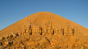 Nemrut Dagı Milli Parki, Mount Nemrut with ancient statues heads og the king anf Gods Royalty Free Stock Photo