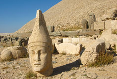 Nemrut Dagı Milli Parki, Mount Nemrut with ancient statues heads og the king anf Gods Stock Photos