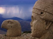 Nemrut Dagi - anger of gods. Nemrut Dagi is mountain in SE Turkey. On it's top, cca 62 BC king Antiochus build his thomb/sanctuary with statues of gods and Stock Photos