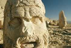 Nemrut dagi heads turkey. Toppled heads of the gods at the top of nemrut dagi in turkey Royalty Free Stock Photos
