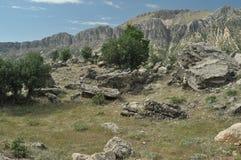 Nemrut Dagi. Mountains on the background of sky. Tourism Stock Photo