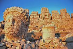 Nemrut Dagi statues. Colossal statues on the top of Nemrut Dagi mountain. This tomb of the Commagene King Antiochus I is UNESCO world heritage site Royalty Free Stock Photo