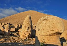 Nemrut Dagi Tomb. Colossal statues on the top of Nemrut Dagi mountain. This tomb of the Commagene King Antiochus I is UNESCO world heritage site Royalty Free Stock Photo