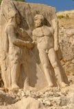 Nemrut - die Türkei - Statuen auf Montierung Nemrut Stockfotos