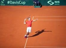 Nenad Zimonjic en Davis Cup, BELGRADO, SERBIA 16 de julio de 2016 Fotografía de archivo