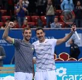 Nenad Zimonjic och Viktor Troicki Royaltyfri Fotografi