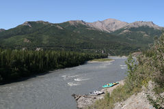 Nenana River, Alaska. Rafts parked on the banks of the Nenana River, Alaska stock photography