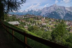 Village in the Swiss Alps in Valais royalty free stock image