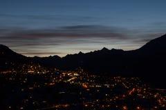Nendaz at night. Nendaz, Valais, Switzerland at dusk Stock Image