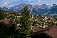 Village in the Swiss Alps in Valais stock image