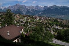Village in the Swiss Alps in Valais royalty free stock photography