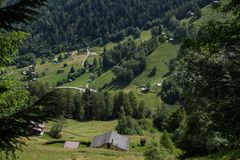 Village in the Swiss Alps in Valais. Nendaz in valais in swiss stock images