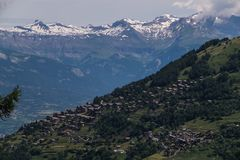 Village in the Swiss Alps in Valais royalty free stock photo
