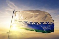Nenets Autonoom District van stof die van de de vlag de textieldoek van Rusland op de bovenkant golven stock illustratie