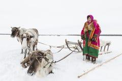 Nenets bergers de renne de jour à festival national «sur la péninsule de Yamal, Tarko-vente, le 28 mars 2015 Photographie stock libre de droits
