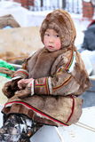 Nenets boy-herder in traditional fur clothing Royalty Free Stock Images