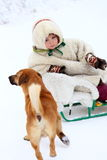 Nenets child in national dress and the dog Stock Image