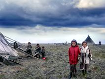Nenets Children Near Their Plague In The Arctic, Russia Royalty Free Stock Images