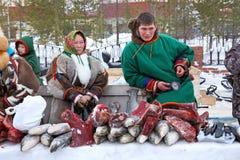 Nenets dans des vêtements nationaux Photos stock