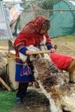 Nenets-Frau verarbeitet cervine Haut Stockbild