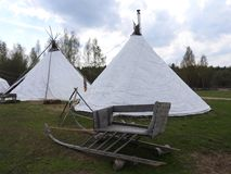 Nenets herders hut for the summer on a meadow, on a clear day royalty free stock images
