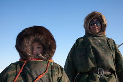 The Nenets man nad his son Stock Photo