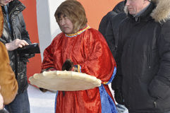 Nenets man shaman in the streen of north city. On the holiday Royalty Free Stock Image