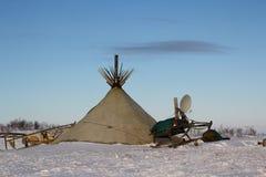 Nenets' tent in arctic Stock Photo