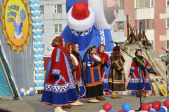 Nenets women sing songs of the north culture. On the holiday of north nationality Royalty Free Stock Photo