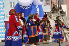 Nenets women sing songs of the north. Culture on the holiday of north nationality Stock Photography