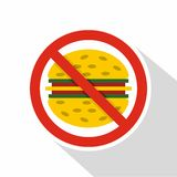 Nenhum ícone do fast food, estilo liso ilustração royalty free