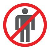 Nenhum ícone do glyph dos povos, proibido e proibição, nenhum sinal humano, gráficos de vetor, um teste padrão contínuo em um fun ilustração royalty free