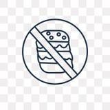 Nenhum ícone do vetor do fast food isolado no fundo transparente, lin ilustração royalty free