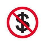 Nenhum ícone liso do vetor do dinheiro nenhum dinheiro Sinal vermelho da proibição Pare o isolado do símbolo da corrupção na ilus Fotografia de Stock