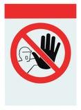 Nenhum acesso para sinal de aviso desautorizado isolou-se Fotos de Stock