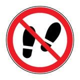 Nenhum aviso do sinal das sapatas ilustração stock