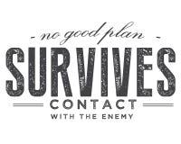 Nenhum bom plano sobrevive ao contato com o inimigo ilustração stock