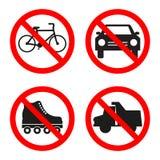 Nenhum caminhão, carro, rolos, sinal proibido bicicleta no fundo branco ilustração royalty free