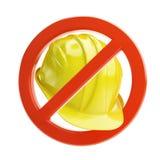 Nenhum capacete da construção do trabalho Fotografia de Stock
