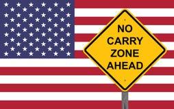 Nenhum Carry Zone Ahead - sinal do cuidado imagem de stock royalty free
