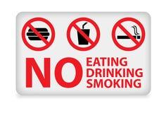 Nenhum comer, bebendo, sinal de fumo Imagens de Stock