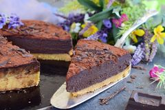 Nenhum coza o bolo, base do biscoito com ganash do cocolate imagens de stock royalty free